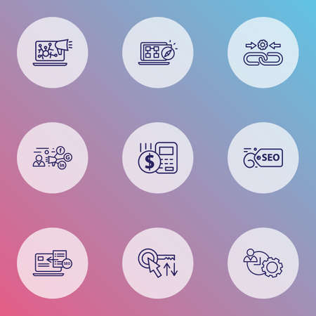 Optimization icons line style set with SEO guide, sort keywords, time management and other advertising  elements. Isolated vector illustration optimization icons.