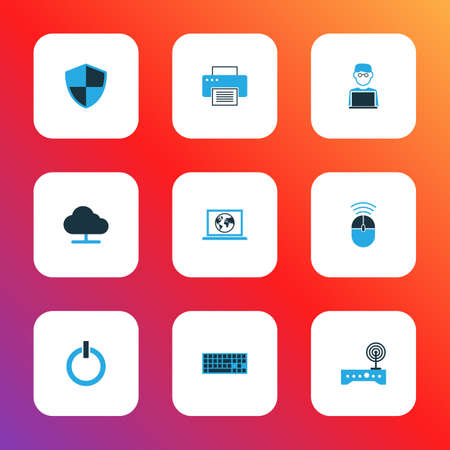 Computer icons colored set with printer, internet, online cloud and other firewall elements. Isolated vector illustration computer icons.