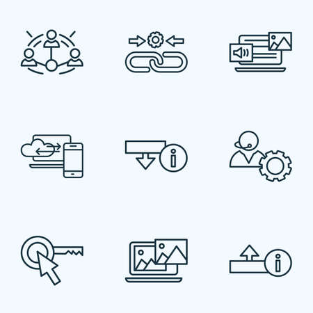 SEO icons line style set with mixed content, download information, photo content and other uploading