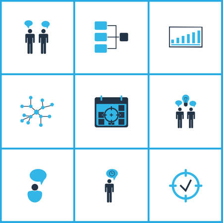 Executive icons colored set with idea discussions, time management, communication and other statistics  elements. Isolated  illustration executive icons. 免版税图像