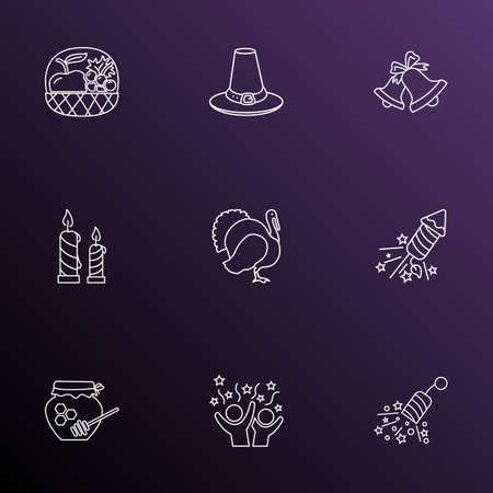 Celebration icons line style set with celebration, turkey, fruit basket and other hive  elements. Isolated vector illustration celebration icons.