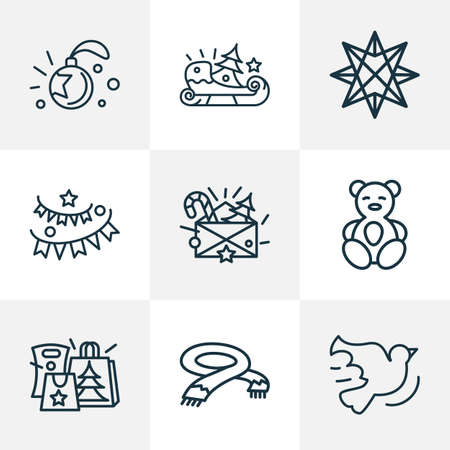 Holiday icons line style set with origami, paper garland, christmas letter neckerchief   elements. Isolated vector illustration holiday icons.