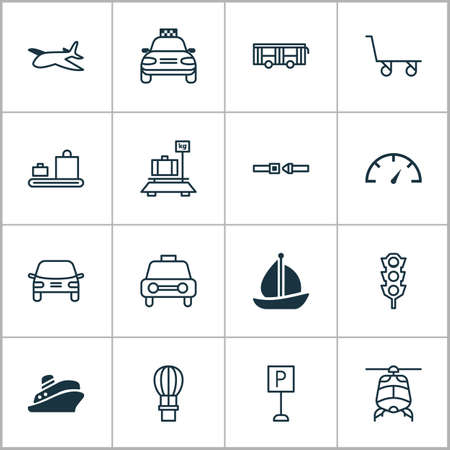 Transport icons set with parking sign, auto, air balloon and other flight basket