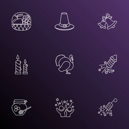 Celebration icons line style set with celebration, turkey, fruit basket and other hive