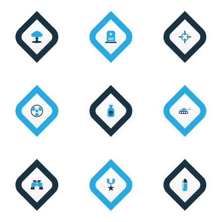 Combat icons colored set with radiation, boom, sniper target and other aim   elements. Isolated vector illustration combat icons. Stock Photo