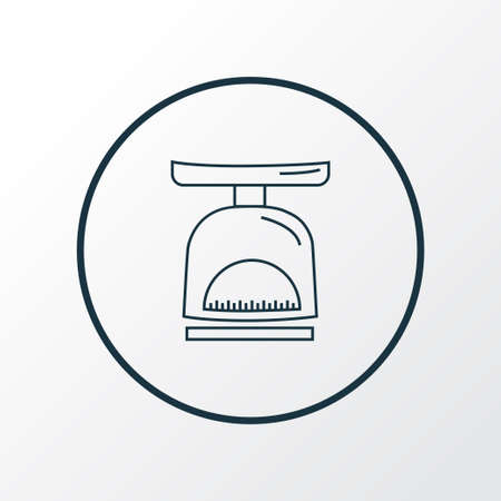 Kitchen scales icon line symbol. Premium quality isolated weight element in trendy style. Vectores
