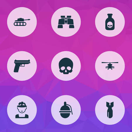 Combat icons set with gun, grenade, tank and other panzer