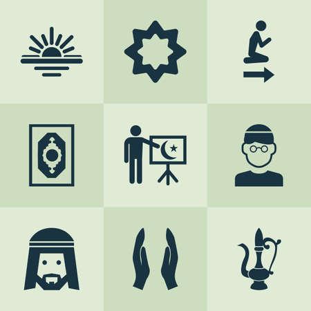 Icone di religione con maghrib, musulmano, lampada e altri elementi abend. Icone di religione illustrazione vettoriale isolato. Vettoriali