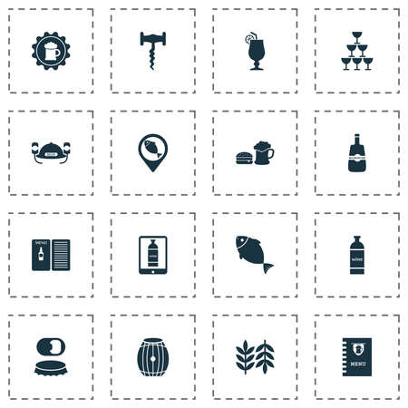 Beverages icons set with wine in the tab, wheat, badge and other beer sticker  elements. Isolated  illustration beverages icons.