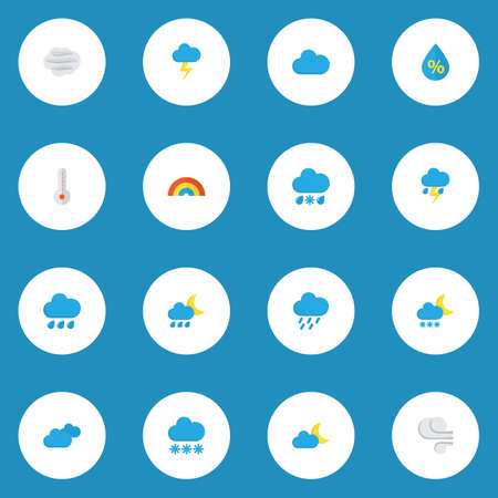 Air icons flat style set with hail, rain-snow, wind and other lightning