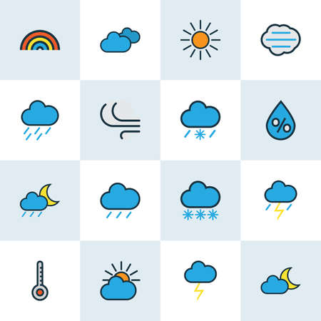 Weather icons colored line set with degree, raindrop, percent and other rainbow  elements. Isolated  illustration weather icons.