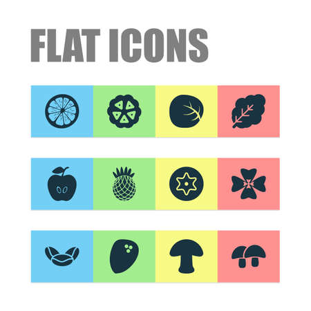 Food icons set with apple, white cabbage, dad and other nature