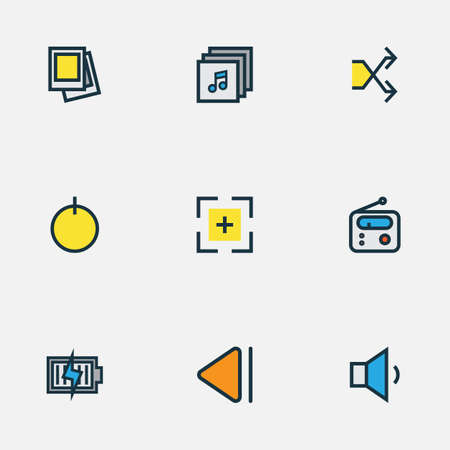 Multimedia icons colored line set with charging, start, albums and other tuner  elements. Isolated  illustration multimedia icons.