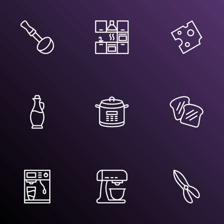 Gastronomy icons line style set with coffee machine, cheese, olive oil glass and other beater  elements. Isolated vector illustration gastronomy icons.
