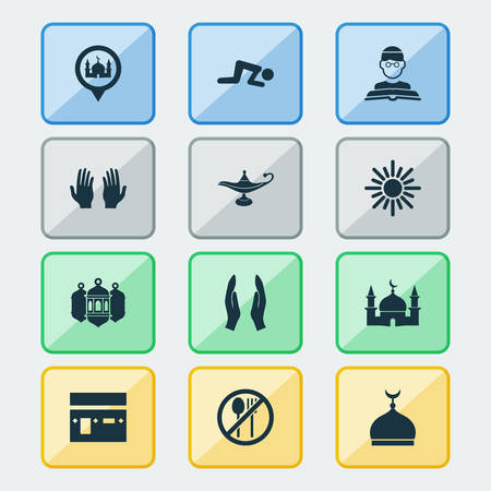 Ramadan icons set with worship, minaret, oil and other midday   elements. Isolated vector illustration ramadan icons.