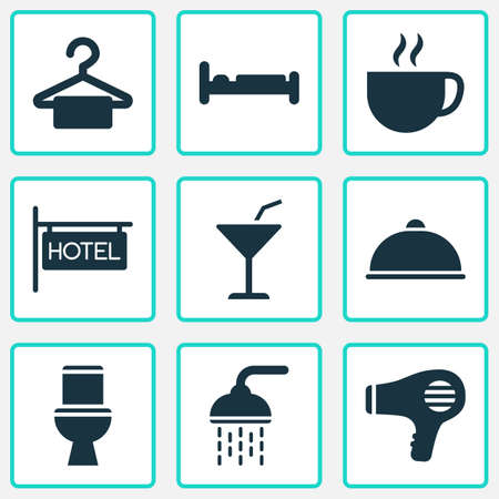 Travel icons set with bathroom, hairdryer, meal and other blowdryer