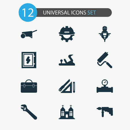 Industry icons set with electrical board, chapel, builder and other gear with helmet