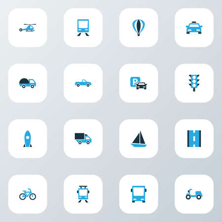 Shipment icons colored set with pickup, moped, camion and other parking  elements. Isolated vector illustration shipment icons. Illustration