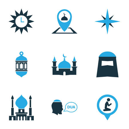 Ramadan icons colored set with beg, location, qiblah and other gods house