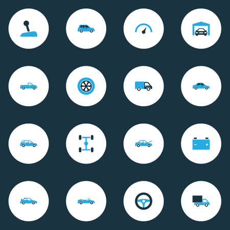 Auto icons colored set with wheel, lorry, carriage and other chassis