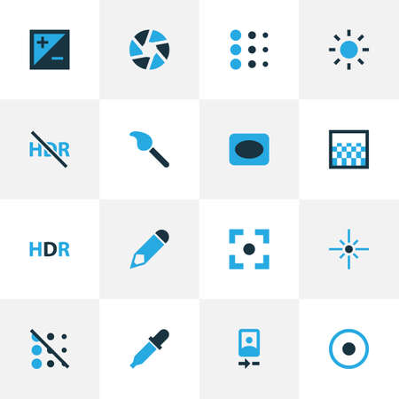 Image icons colored set with eyedropper, hdr, shutter and other hdr off  elements. Isolated vector illustration image icons. 向量圖像