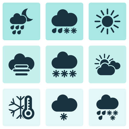 Climate icons set with cold, drizzle, light snow shower and other hail   elements. Isolated  illustration climate icons.