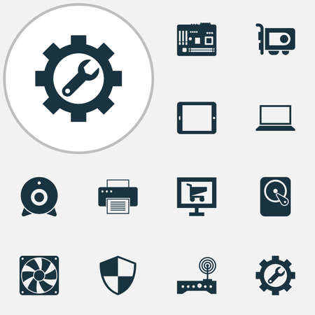 Gadget icons set with motherboard, notebook, video card and other repair   elements. Isolated vector illustration gadget icons.  イラスト・ベクター素材