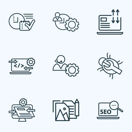 Engine icons line style set with website optimization, time planning, time management and other operator   elements. Isolated vector illustration engine icons.  イラスト・ベクター素材