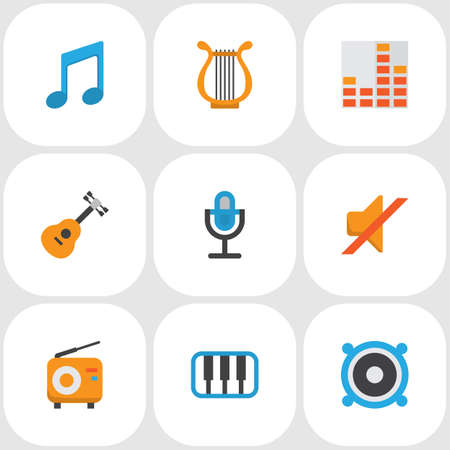 Audio icons flat style set with musical, mic, silent and other karaoke   elements. Isolated vector illustration audio icons.