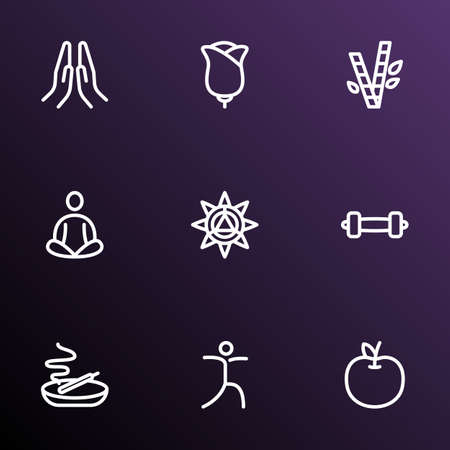 Relax icons line style set with fruit, meditation, bamboo and other yoga pose   elements. Isolated vector illustration relax icons.  イラスト・ベクター素材