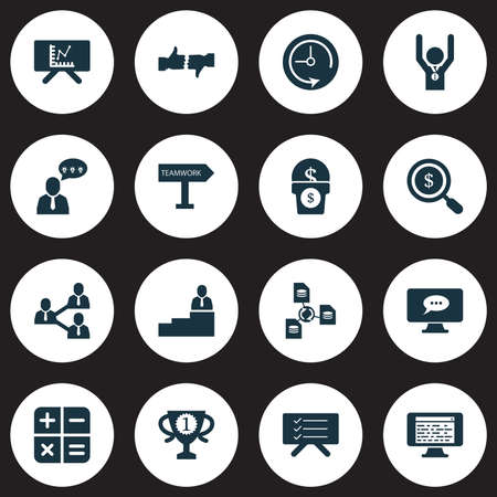 Teamwork icons set with deadline, calculator, online team and other time   elements. Isolated vector illustration teamwork icons.