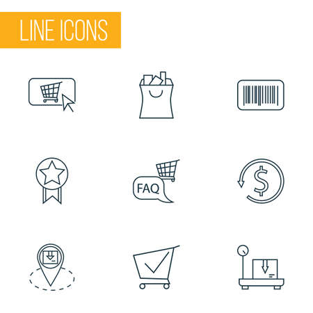Ecommerce icons line style set with buy button, location pin, shopping bag and other trolley   elements. Isolated vector illustration ecommerce icons.