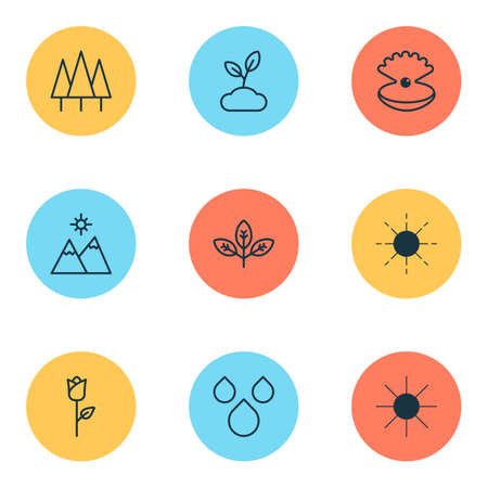 Nature icons set with wood, sun, mountains and other love flower  elements. Isolated  illustration nature icons.