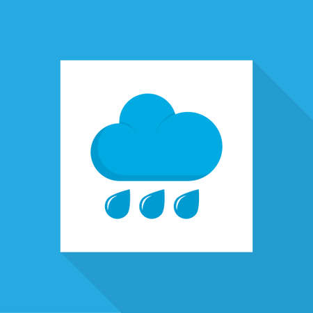 Rainy icon flat symbol. Premium quality isolated rain element in trendy style.