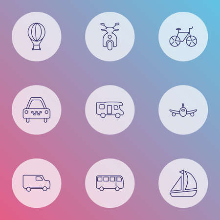 Transportation icons line style set with taxi, plane, ship and other airship   elements. Isolated vector illustration transportation icons.  イラスト・ベクター素材