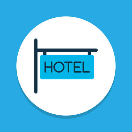 Hotel sign icon colored symbol. Premium quality isolated inn element in trendy style.