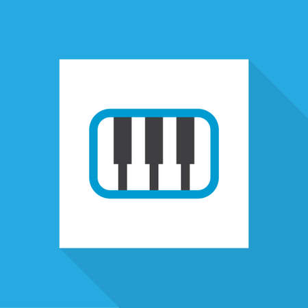 Synthesizer icon flat symbol. Premium quality isolated pianoforte element in trendy style.
