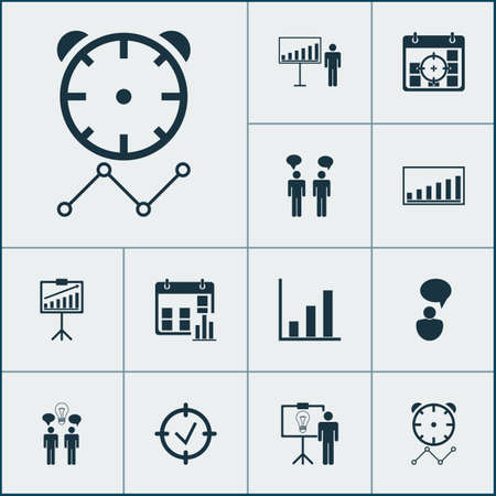 Management icons set with idea discussions, statistical presentation, project deadlines and other project presentation   elements. Isolated vector illustration management icons.