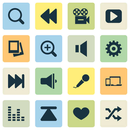 Media icons set with magnifier, mute, next and other video   elements. Isolated vector illustration media icons.