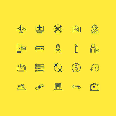 Traveling icons set with passenger, mobile booking, no mobile devices and other internet ticket   elements. Isolated vector illustration traveling icons. Illustration