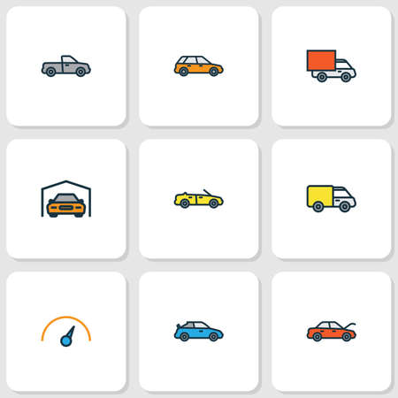 Auto icons colored line set with hood, cabriolet, sport and other shed