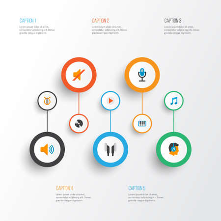 Audio icons flat style set with musical, compact disk, ear muffs and other quiet