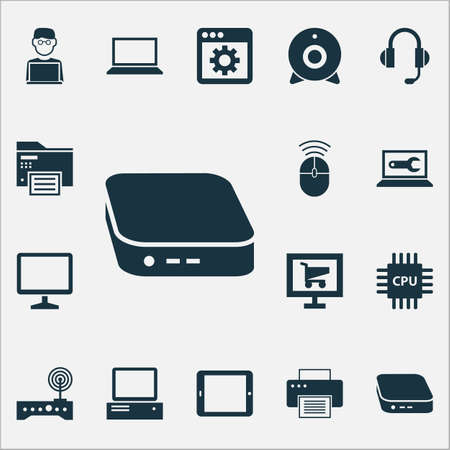 Gadget icons set with software, printer, cpu and other monitor   elements. Isolated vector illustration gadget icons.
