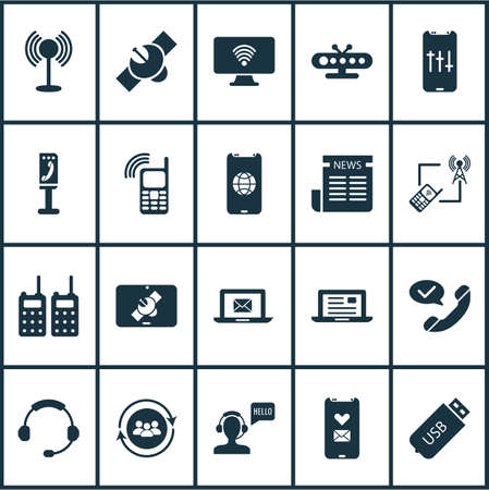 Communication icons set with access point, tower with phone, audio adjustment and other headset   elements. Isolated vector illustration communication icons.