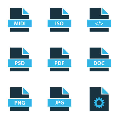 File icons colored set with text, file pdf, file png and other setting   elements. Isolated vector illustration file icons.