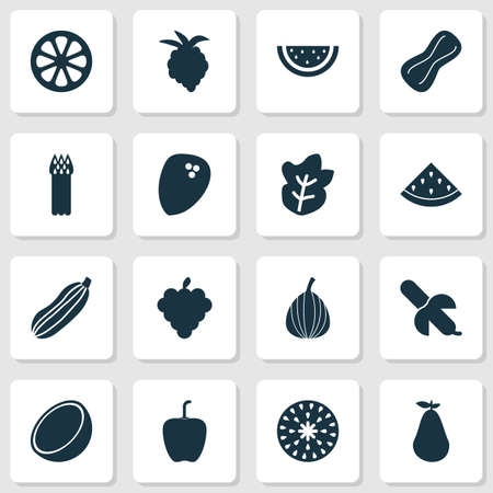 Food icons set with tropical fruit, mandarin, melon groundnut   elements. Isolated vector illustration food icons.