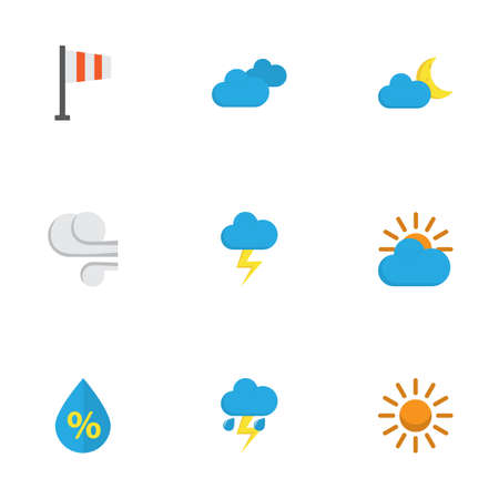 Air icons flat style set with clouds, sun, blizzard and other the flash   elements. Isolated vector illustration air icons.