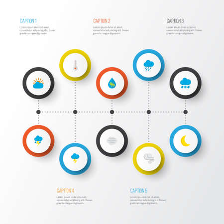 Climate icons flat style set with lightning, rain-snow, outbreak and other the flash   elements. Isolated vector illustration climate icons.