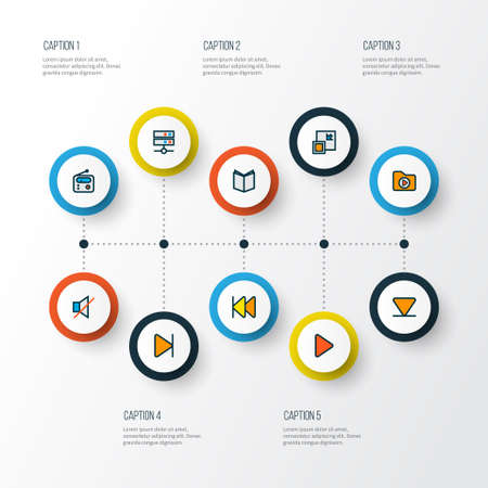 Multimedia icons colored line set with arrow down, end, media server and other decrease elements. Isolated vector illustration multimedia icons. Vector Illustration