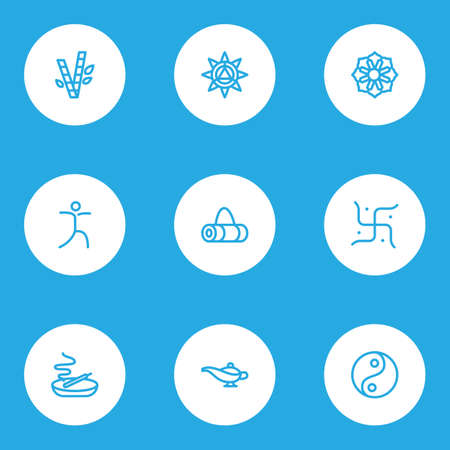 Yoga icons line style set with mandala, yoga bag, lamp aromatherapy   elements. Isolated vector illustration yoga icons.